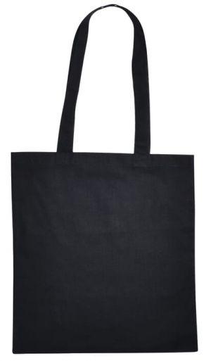 Sacosa din bumbac culoare negru, manere lungi, 37x40 cm